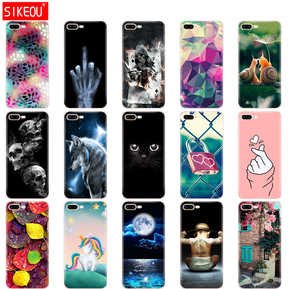 Silicone Case For Iphone 7 8 Case Soft Tpu Shell Cover For Apple Iphone 7 8 Plus Bag Funda Coque Etui Bumper Paiting Cat Flower Fitted Cases Aliexpress