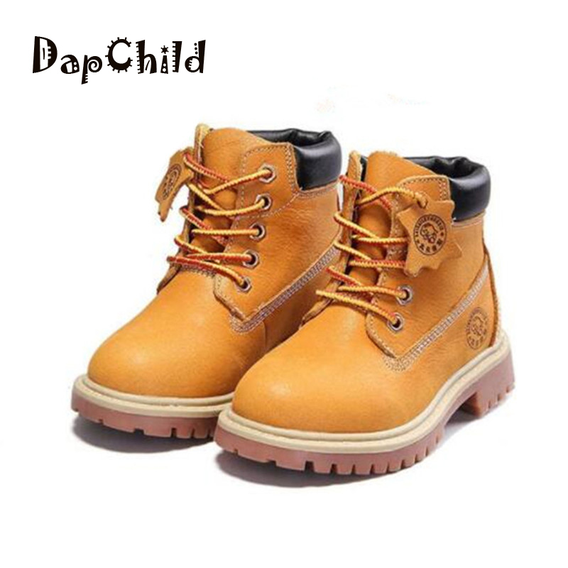 DapChild Genuine Leather Boys Shoes Waterproof Girls Martin Boots Winter Children Shoes Spring Autumn Kids Ankle Boot High Grade 2014 new autumn and winter children s shoes ankle boots leather single boots bow princess boys and girls shoes y 451