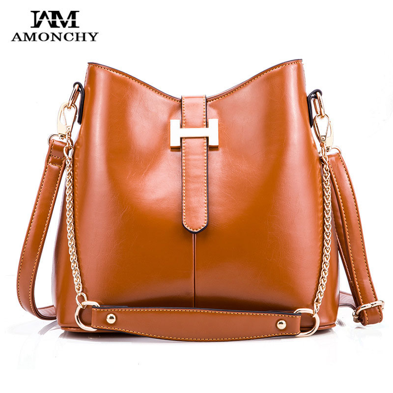 Hot Sale Vintage Leather Women Shoulder Bags Fashion H Buckle Bucket Bag Designer Brands Chains Ladies