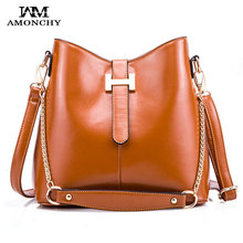 Hot Sale Vintage Leather Women Shoulder Bags Fashion H Buckle Bucket Bag Designer Brands Chains Ladies Handbags High Quality Bag