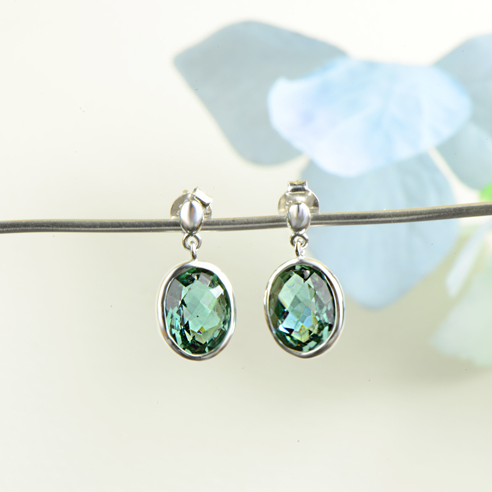 Green Crystal Earrings For Lady 100% Authentic 925 Sterling Silver Hot sale Earrings For Women Earrings Fine Jewel For gift adriatica часы adriatica 1267 1121q коллекция twin