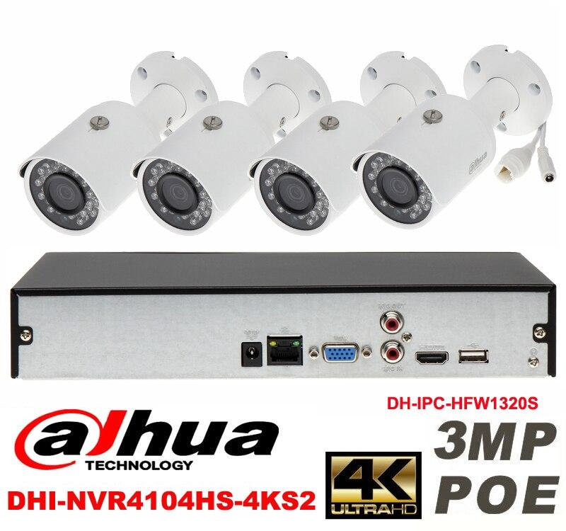 Dahua original 4CH 3MP H2.64 DH-IPC-HFW1320S 4pcs bullet IP security camera POE DAHUA DHI-NVR4104HS-4KS2 Waterproof camera kit dahua 3mp network ir bullet camera ipc hfw1320s freeship poe original english version dh ipc hfw1320s dahua ip camera