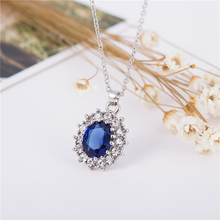 Fashion Silver Blue Crystal Jewelry Sets Luxury Vintage Party Water Drop CZ Necklace & Earrings Fine Jewelry