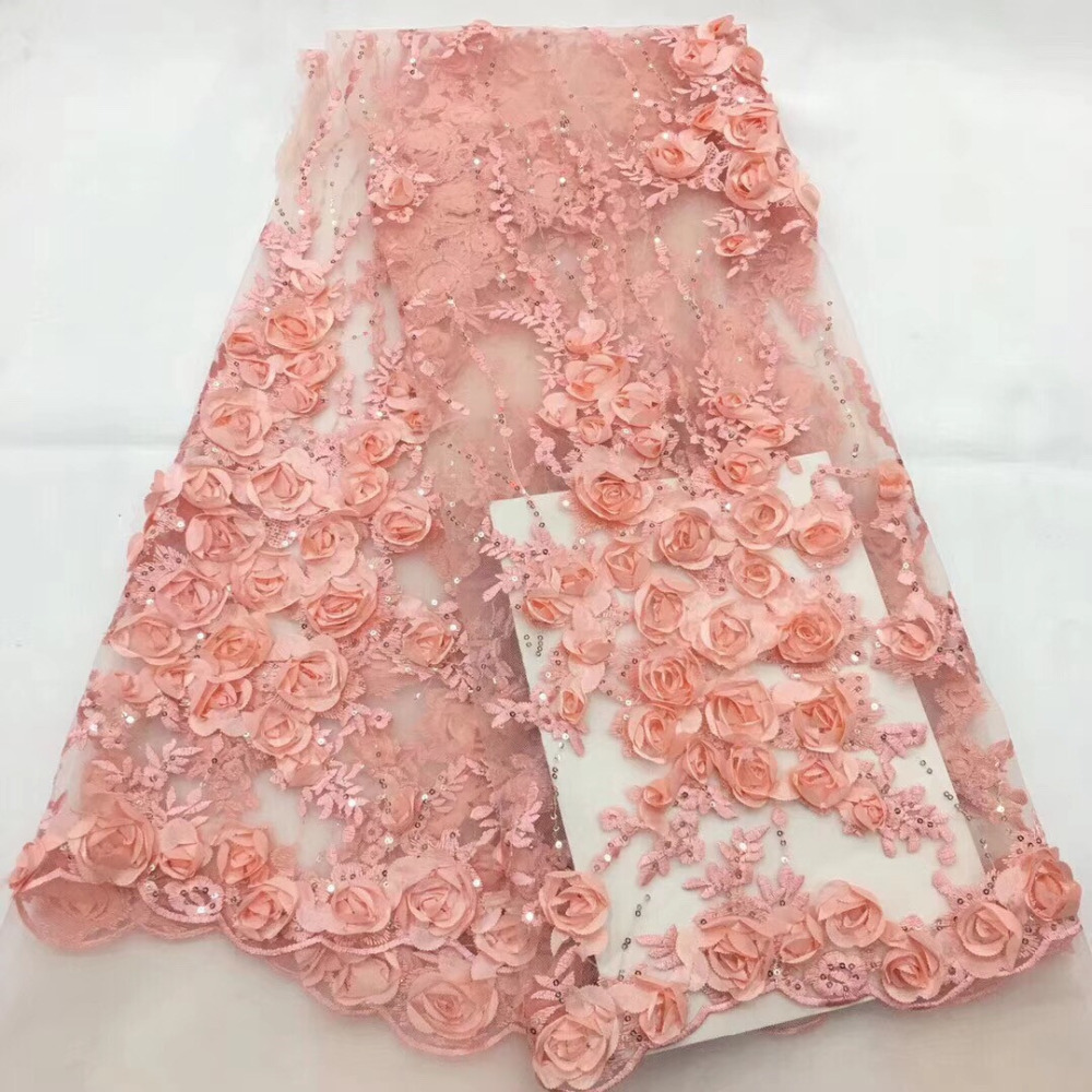 Nigerian Lace Fabrics for Wedding 2018 African French Lace Fabric High Quality 3D Sequins Rose Pink