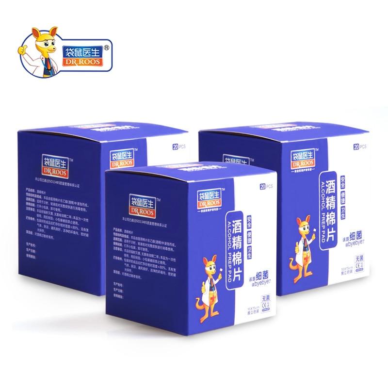 Free Shipping DR.ROOS 10cmx15cm 3 Box 20Pcs/Box Alcohol Swabs Pad Wipes Skin Clean Alcohol Prep Pad