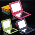 Portable Cosmetic Square Makeup Mirror Creative Stainless Steel Mirror Lady Pocket Mirror Lovely Princess with PU Case
