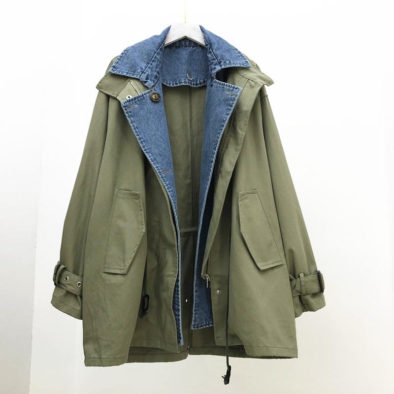 SuperAen Jacket Female Korean Style 2019 New Spring Fashion Casual Cotton Women Jacket Denim Splice Zipper