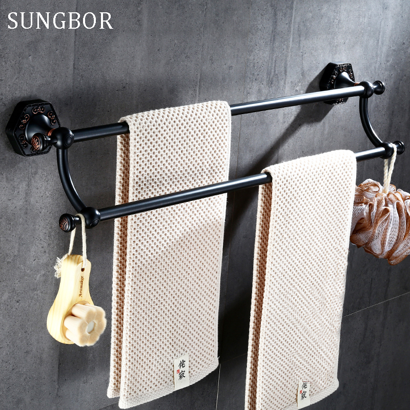 Oil Rubbed Bronze Towel Rack,Bathroom towel Bars,55CM Black Orb Bath Towel Holder Double Towel Rails Bars Wall Mounted SP-60811H