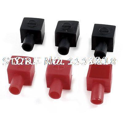 Auto Car Battery Terminal Angle Type Insulating Cover Boot Cap Black Red 3 Pairs 1 set universal pvc battery terminal insulating protector covers