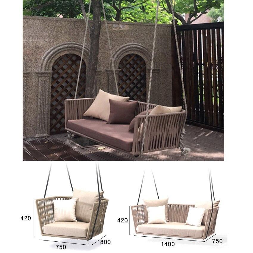 Swing de mode Canapé chaise adulte extérieur à l'intérieur chaise en rotin chaise à bascule unique double swing cour président meubles d'intérieur
