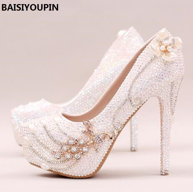 2018 Phoenix Diamond Shoes Bride Wedding Shoes High-heeled Shoes Asakuchi Shoes Single Crystal Flower Dress High Heels Pumps crystal shoes wedding shoes silver ultra high heels high heeled shoes latin dance single shoes ruslana korshunova fashion