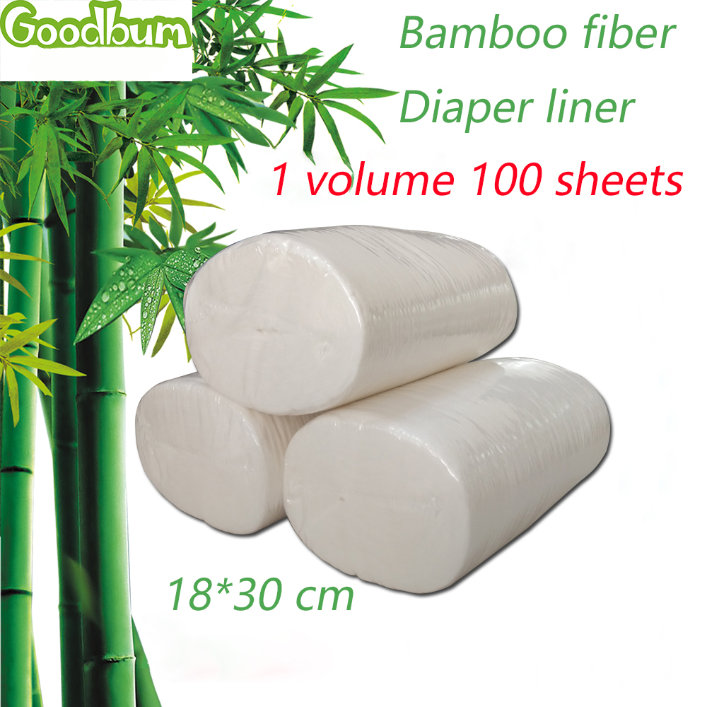 Goodbum Baby Disposable Diapers Biodegradable & Flushable Nappy Liners Cloth Diaper Liners 100% Bamboo 100 Sheets1 Roll