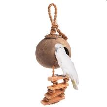 Pet birds parakeet loro columpio nido natural coconut shell escalera jaula juguete juguete