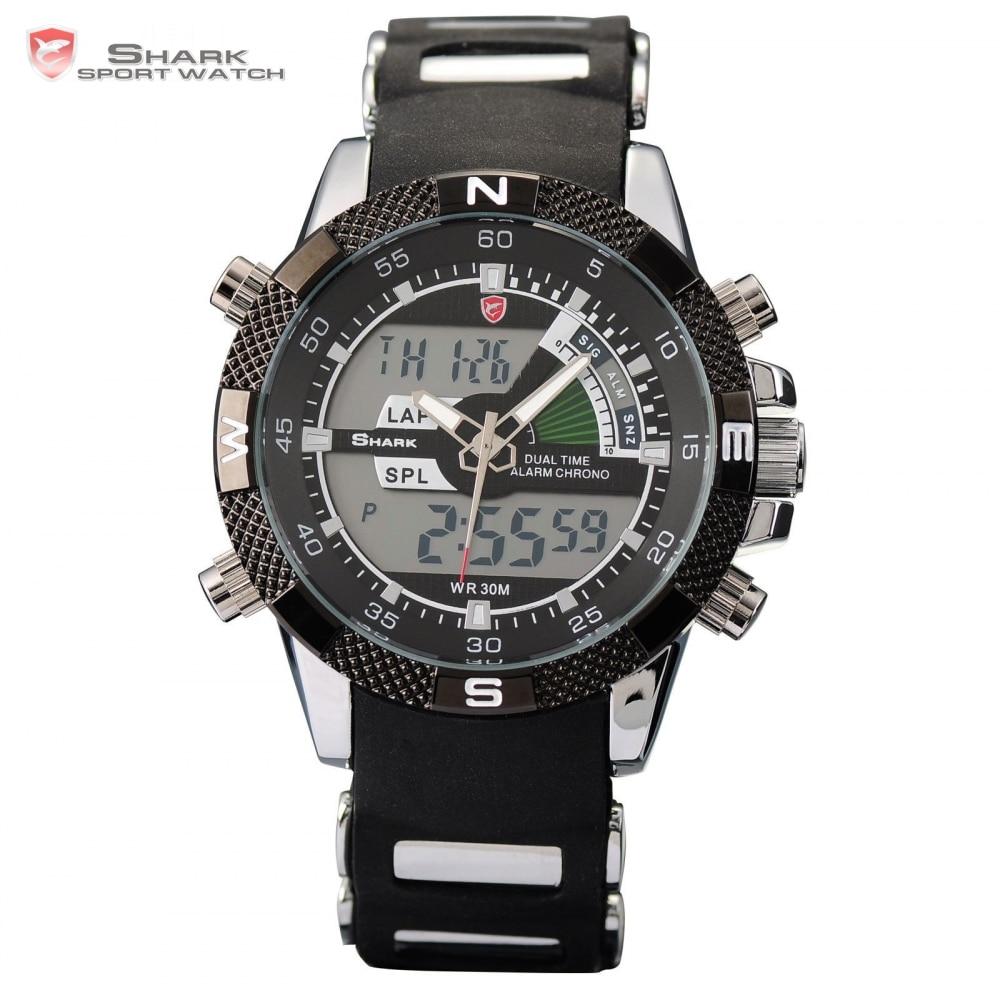 Porbeagle SHARK Sport Watch Military Relogio Digital Analog Dual Time Alarm Silicone Black Quartz Men Wristwatch