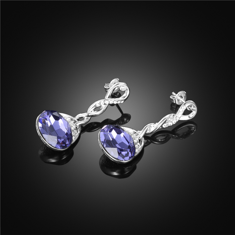 New Arrival Jewelry Sets Infinity With Purple Crystal Necklace Earring Sets For Women Accesrories7