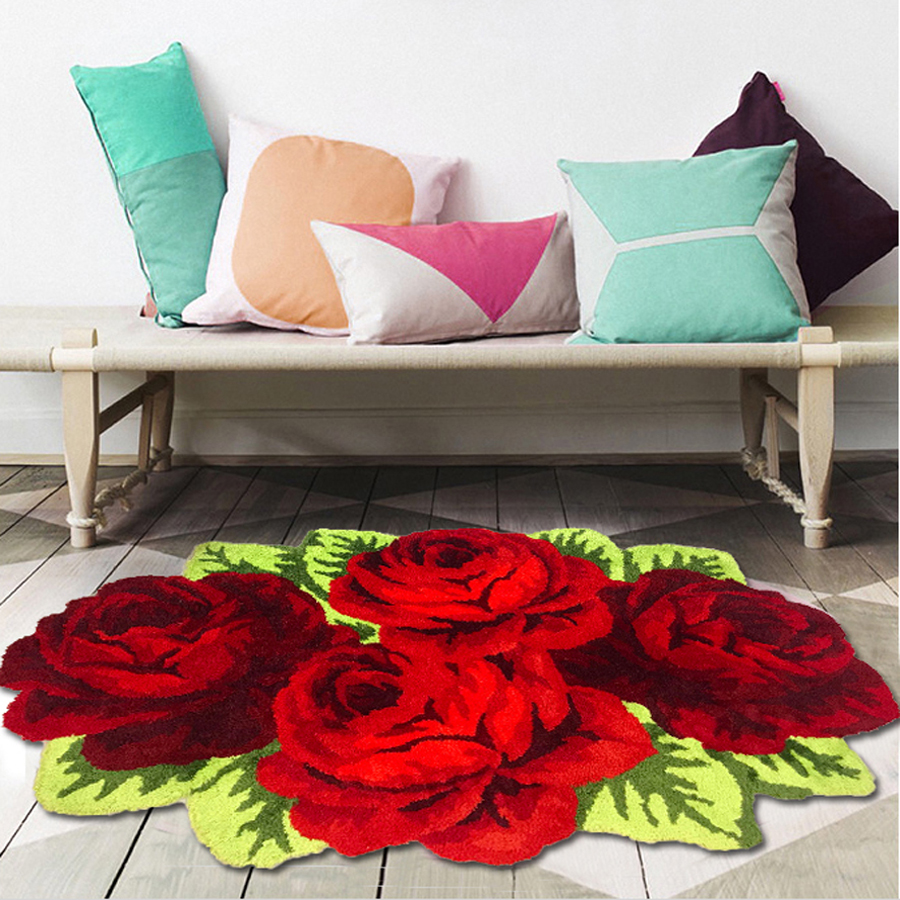 Red Rose Carpet For Livingroom/Bedroom/Bathroom/Wedding Rug Soft Shaggy Plush Washable Absorbent Microfibers Area Rug Bath Mat