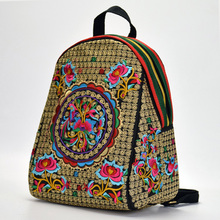 New Chinese Style Ethnic Boho Embroidery Flowers School Bag Backpacks Designers Female Shoulder Bag Student Bag Drop Shipping noenname chinese national style cow leather bag ladies and girls backpack tassel handmade ethnic flowers embroidery backpacks