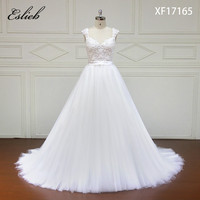 Eslieb Elegant Cap Sleeve Appliques Lace Wedding Dress 2018 Sexy Short Sleeve China Bridal Gown Plus