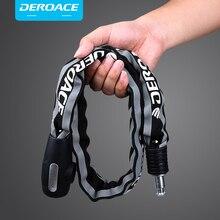 DEROACE bicycle lock anti-theft chain lock reflective cloth cover anti-cut shear Light key bike lock motorcycle lock