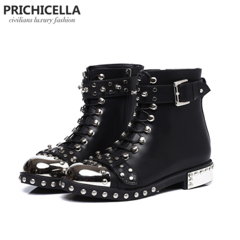 PRICHICELLA quality black flats genuine leather studded lace up ankle boots,motorcycle winter booties