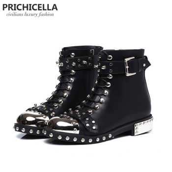 PRICHICELLA quality black flats genuine leather studded lace up ankle boots,motorcycle winter booties - DISCOUNT ITEM  0% OFF All Category