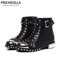 Prichicella Качество Черные Мокасины натуральная кожа шипованных на шнуровке ботильоны, мотоциклетные зимние ботинки