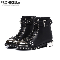 PRICHICELLA Quality Black Flats Genuine Leather Studded Lace Up Ankle Boots Motorcycle Winter Booties