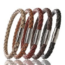 Louleur 2017 Stainless Steel Bracelets Bangles Men Braided Leather Bracelet Male Wristband Jewelry Pulseras F8224