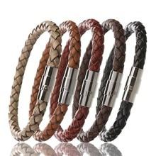 Louleur 2017 Stainless Steel Bracelets Bangles Men Braided Leather Bracelet Male Wristband Jewelry Pulseras F8224