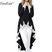 Forefair Женская кружевная блузка с длинным рукавом на осень зиму 2018 повседневные свободные элегантные Лоскутные Длинные топы размера плюс женские топыБлузки    АлиЭкспресс