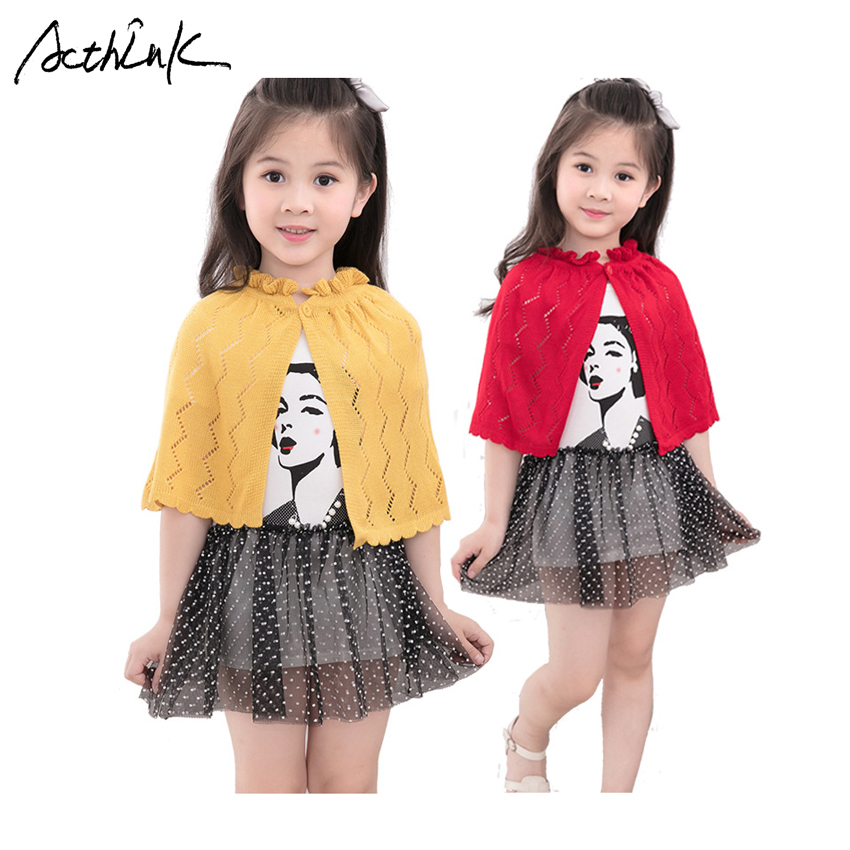 ActhInK New Baby Girls Knitted Woolen Cape Brand Summer Girls Hollow Out Dress Bolero Kids Fall Cardigan Sweater For Girls, C320