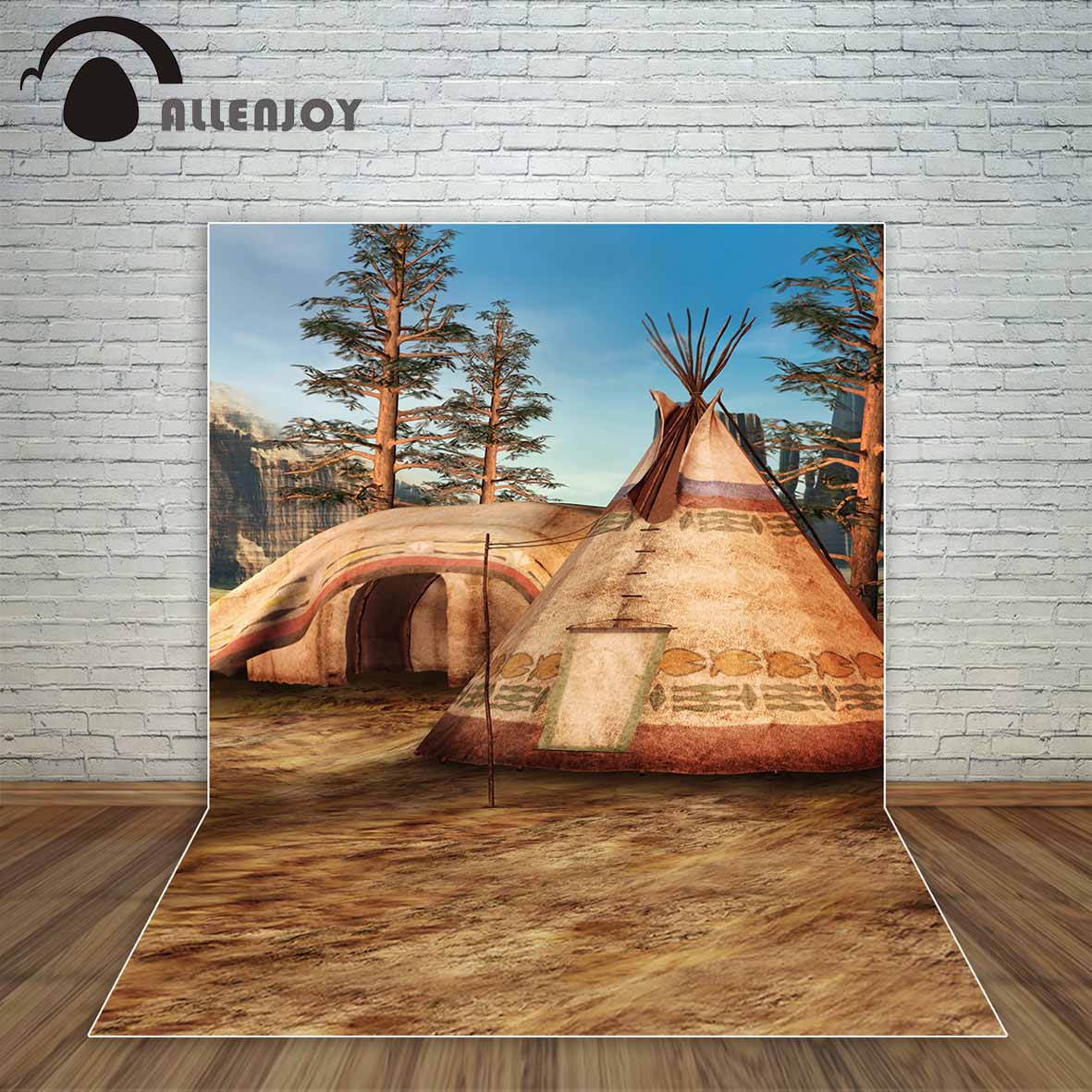 Allenjoy Fantasy teepee tipi Native American camp in the mountains with trees backdrop fond studio photo background photography the woman in the photo