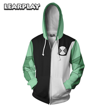 Anime Ben 10 Alien Force Cosplay Costume Benjamin Tennyson 3D Printing Sweatshirt Unisex Adults Zipper Hoddies Hooded Jacket