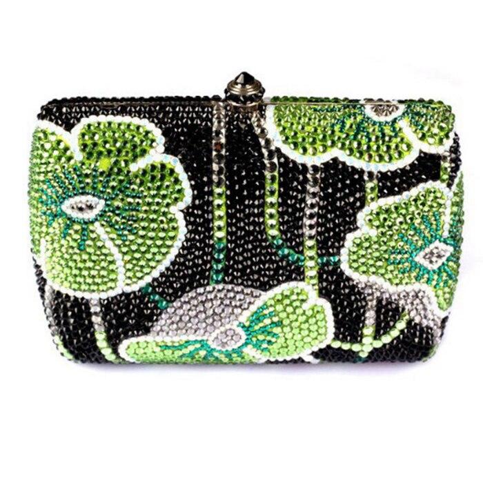 Women Lotus leaf mini dress Evening day Clutches plain diamond clutch Purse Hard Case Minaudiere Bag Chain Shoulder Handbag lady
