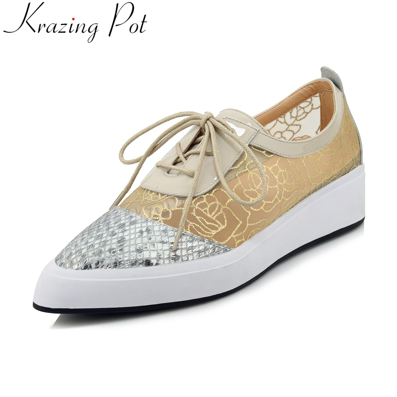 2019 superstar air mesh Spring shoes lace up pointed toe sneaker increasing casual platform concise women