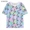 Hiawatha Leche Estilo Harajuku Tops Verano de Las Mujeres Impreso Camisetas Nueva Moda de Impresión Digital de la camiseta de Manga Corta Camisetas T2240