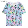 Hiawatha Leite Estilo Harajuku Topos Mulheres Verão Impressa Camisetas Moda de Nova Impressão Digital T camisa de Manga Curta T T2240