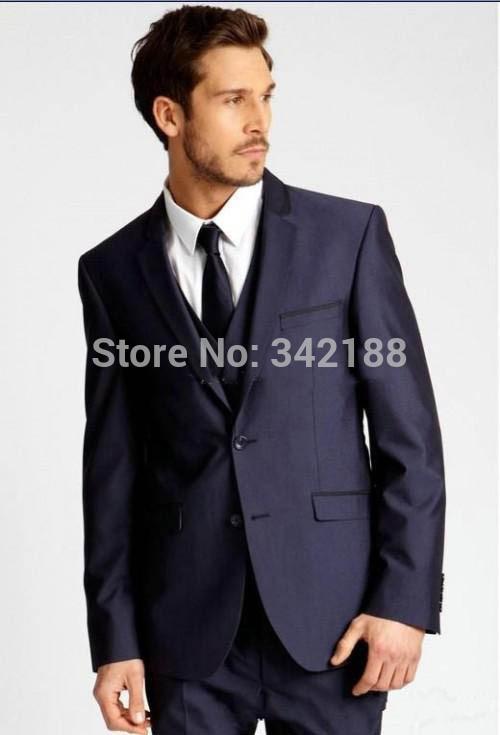 FREE SHIP/Latest New Style Custom Made Two Buttons Navy Blue Groom Tuxedos Notch Lapel Best Man Groomsman Men Wedding Suitsweddi