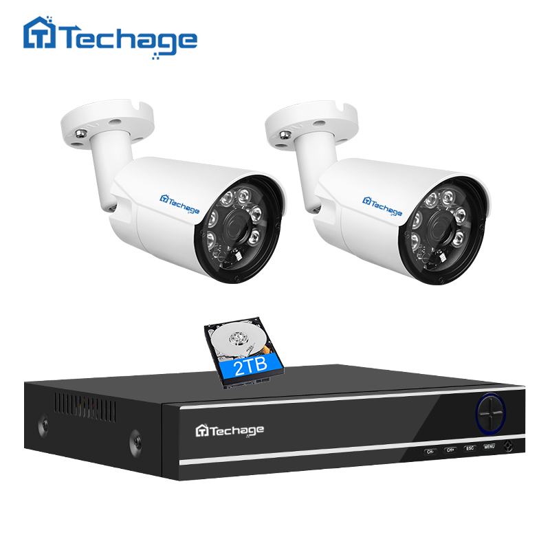 Techage 5 IN 1 4CH AHD DVR CCTV System 4MP 2560*1440 IP66 Waterproof 2PCS Outdoor Camera Security Surveillance DIY Kit APP View