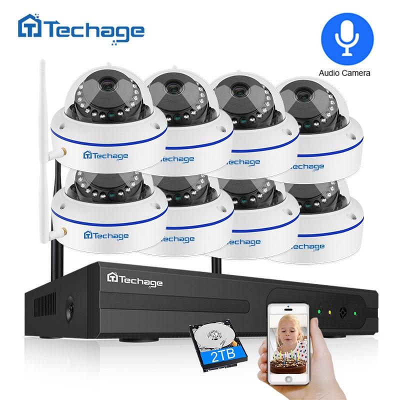Techage 8CH 1080P Wireless Security Camera System 2.0MP NVR CCTV Indoor Dome WiFi IP Camera IR Night P2P Video Surveillance Set