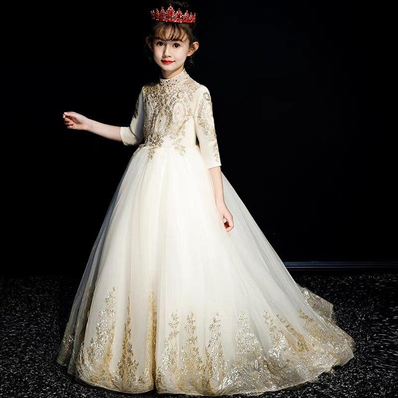 2018 детское благородное элегантное платье золотистого цвета на осень и зиму для дня рождения, свадьбы, вечеринки, с длинным шлейфом, детское