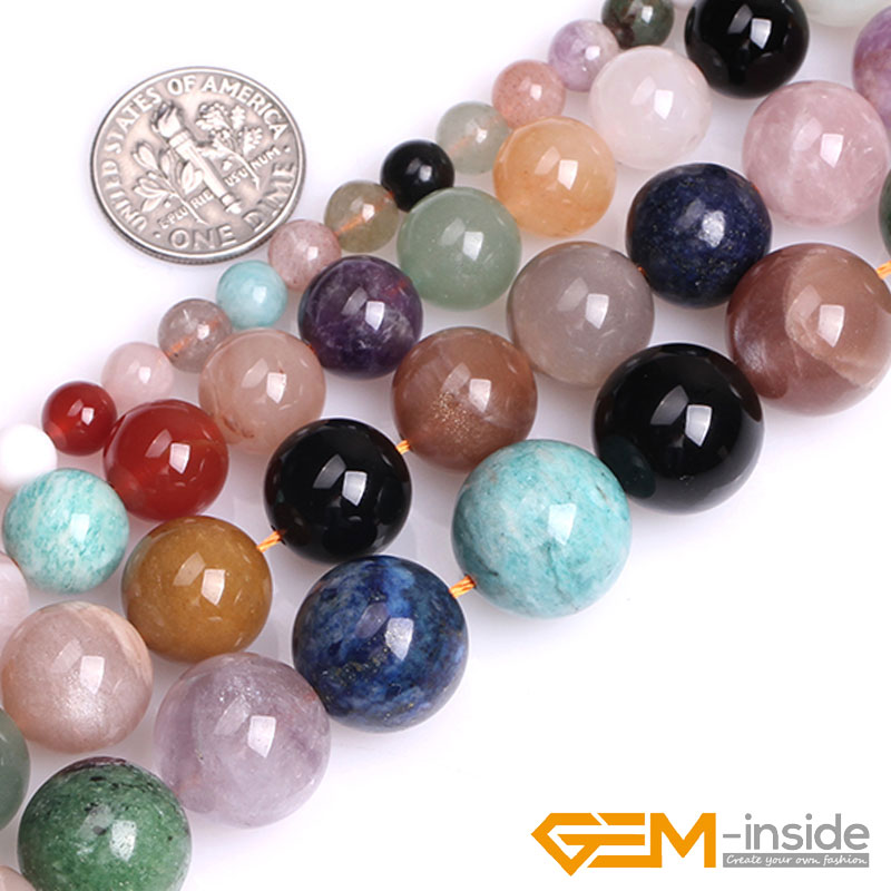Natural Round Multicolor Mixed Stone Gem Stone Semi Precious Beads Selectable 6/10/12/14mm For Jewelry Making Strand 15 Inch