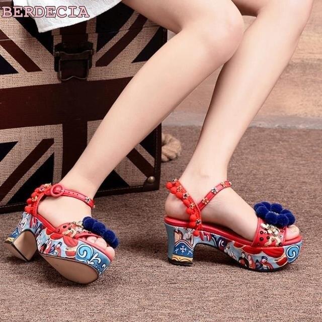 beautiful flower decoration platform sandals vintage stylish multi-color printed shoes chunky heel pom pom beaded sandals photo