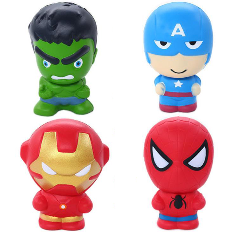 New Cute Super Hero Squishy Spiderman Iron Man Hulk Slow Rising Soft Squeeze Toys Bread Scent Stress Relief for Kid Fun Gift Toy(China)