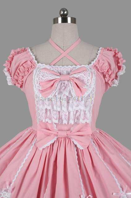 ba1d7a9d1a placeholder Short Puff Sleeves Sweet Pink And White Lace Ruffle Bow  Princess Lolita Dress