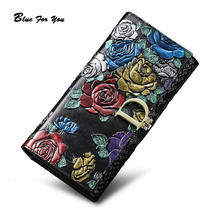 Genuine Leather Purse Wallet Female 3D Embossing Ladies personality Retro Long Clutch Wallets Women Female Coin Purses Holders genuine leather purse wallet female 3d embossing alligator ladies crocodile long clutch wallets women female coin purses holders
