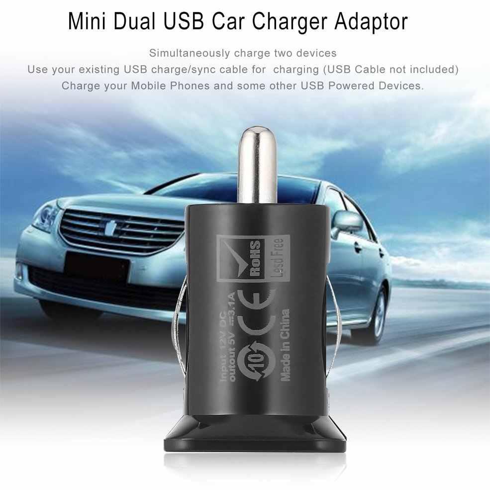 2 portas mini bolso tamanho universal dupla usb carregador de carro adaptador bala 5 v 2.1a + 1a carregador de carro para telefones celulares tablet pc