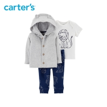 3pcs soft cotton lion print 3D ears button up cardigan set Carter s baby boy spring