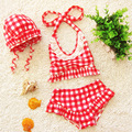 3pcs/set Children Swimwear Baby Girls Bikini Cute Girls Plaid Swimwear Split Preschool Newborn Kids Swimwear