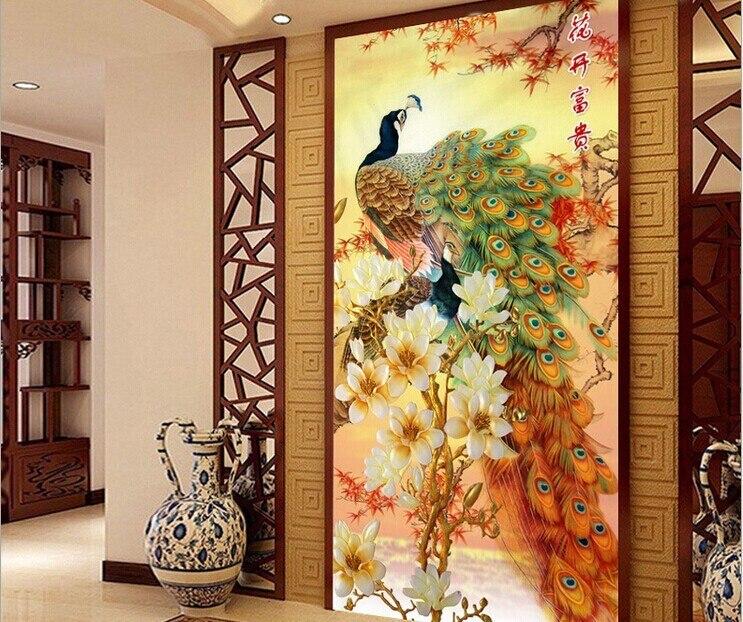 Point plein le paon Animal fleur DMC coton point de croix Kits imprimé broderie couture à la main travaux manuels mur décor à la maison